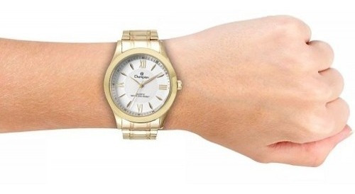 relógio champion feminino colar e brinco banhado ouro 18k