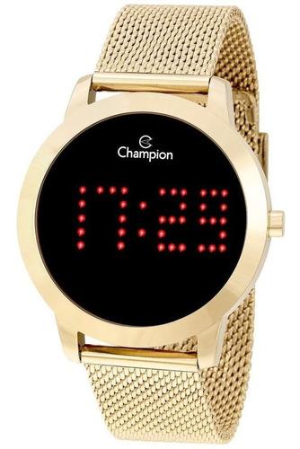 relógio champion feminino digital dourado  ch40017v - escreve o nome