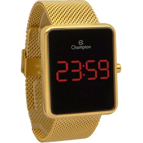 Relógio Champion Feminino Digital Lcd Dourado Ch40080v