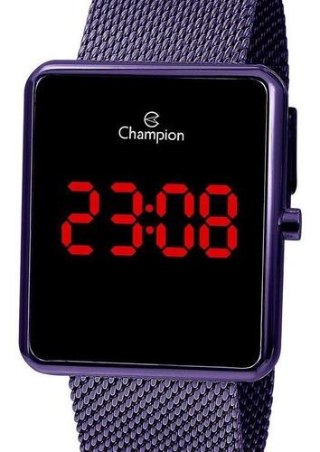 relógio champion feminino digital quadrado roxo -  ch40080l
