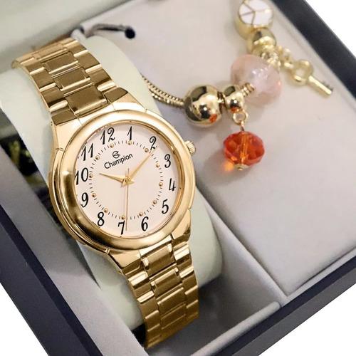 relógio champion feminino dourado analógico colar e brincos
