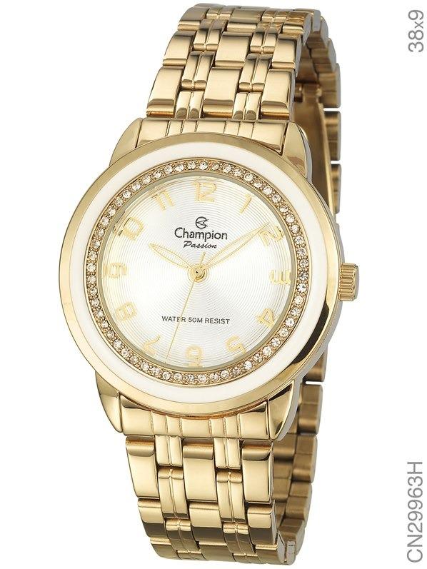 036ba1d076f Relógio Champion Feminino Dourado Aro Branco Cn29963h - R  229