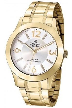relógio champion feminino dourado + brinde banhado ouro 18k