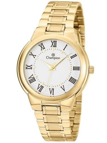 relógio champion feminino dourado ch22000h - original