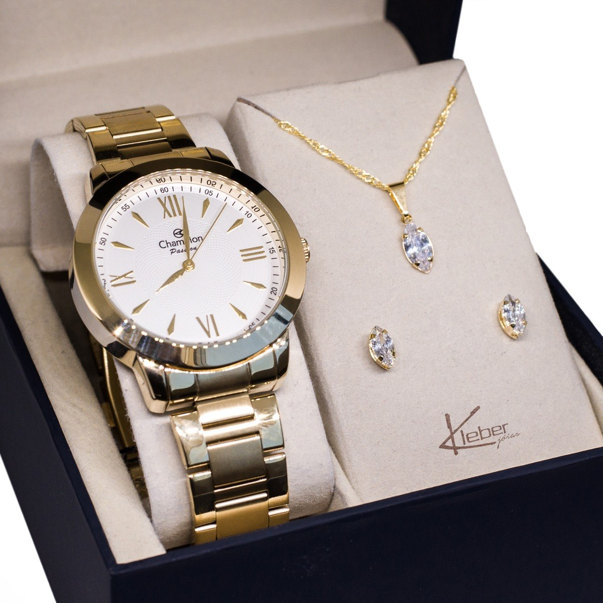 0099902cfbc relógio champion feminino dourado ch24697h kit colar brincos. Carregando  zoom.