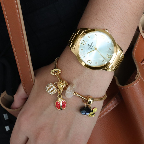relógio champion feminino dourado ch24759w + colar e brincos