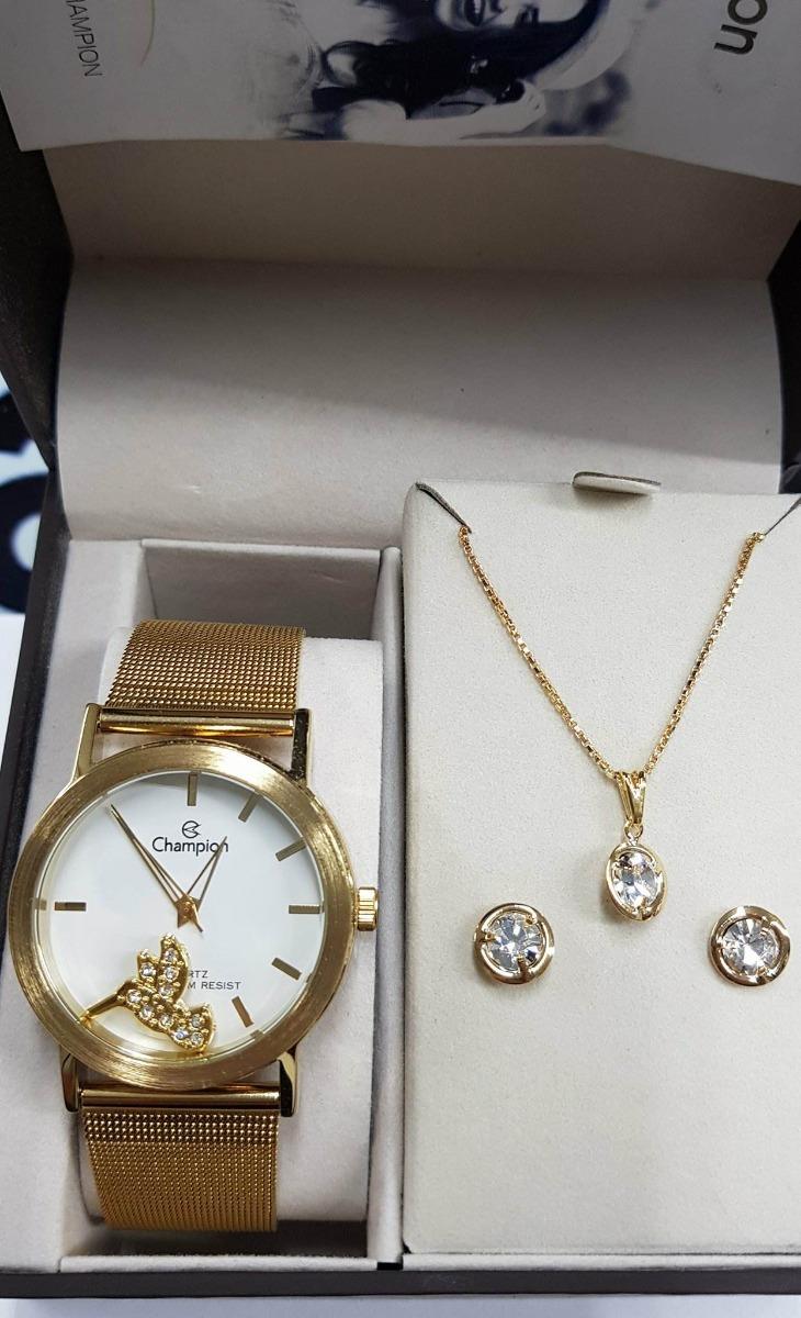 a4363f7d3ab relógio champion feminino dourado champion ch25838w kit. Carregando zoom.