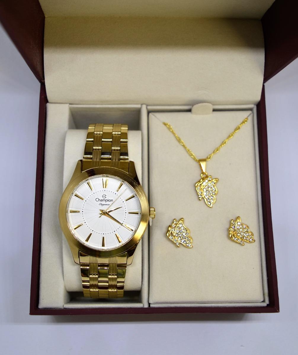 f2ee3df6544 relógio champion feminino dourado cn25378w kit semi joia. Carregando zoom.