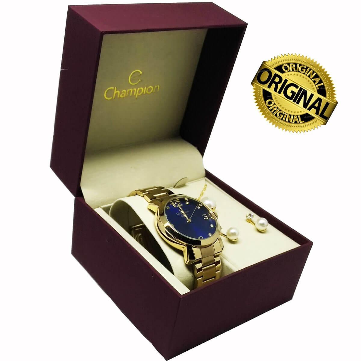 766b5411038 relógio champion feminino dourado cn26279y + colar brincos. Carregando zoom.