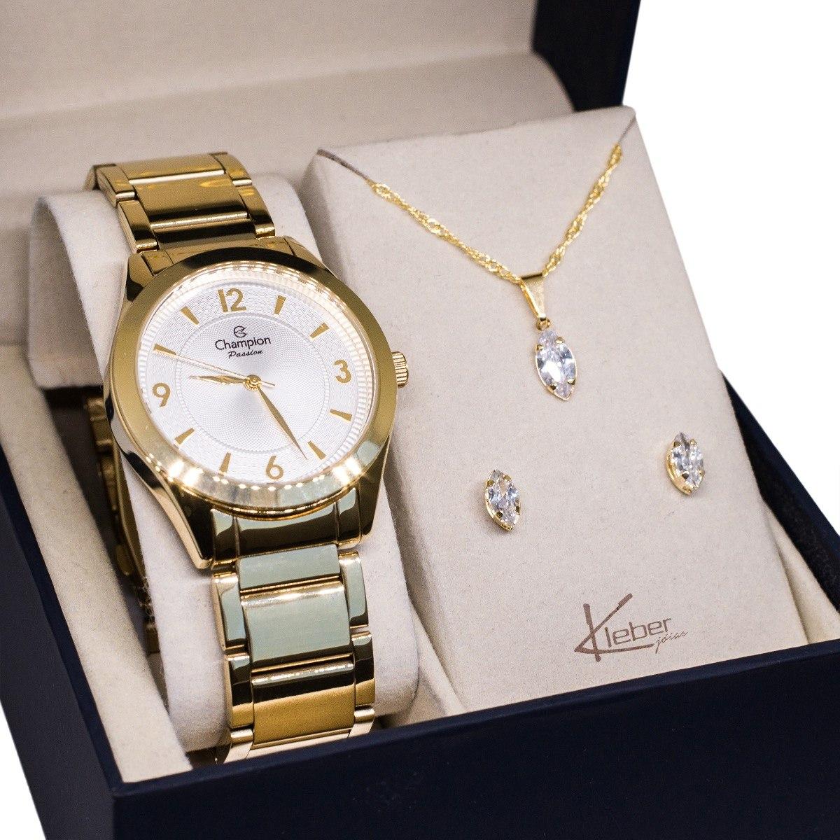 26b20591977 relógio champion feminino dourado cn28866h kit colar brincos. Carregando  zoom.