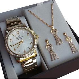 Relógio Champion Feminino Dourado Cn28875w Kit Colar Brincos