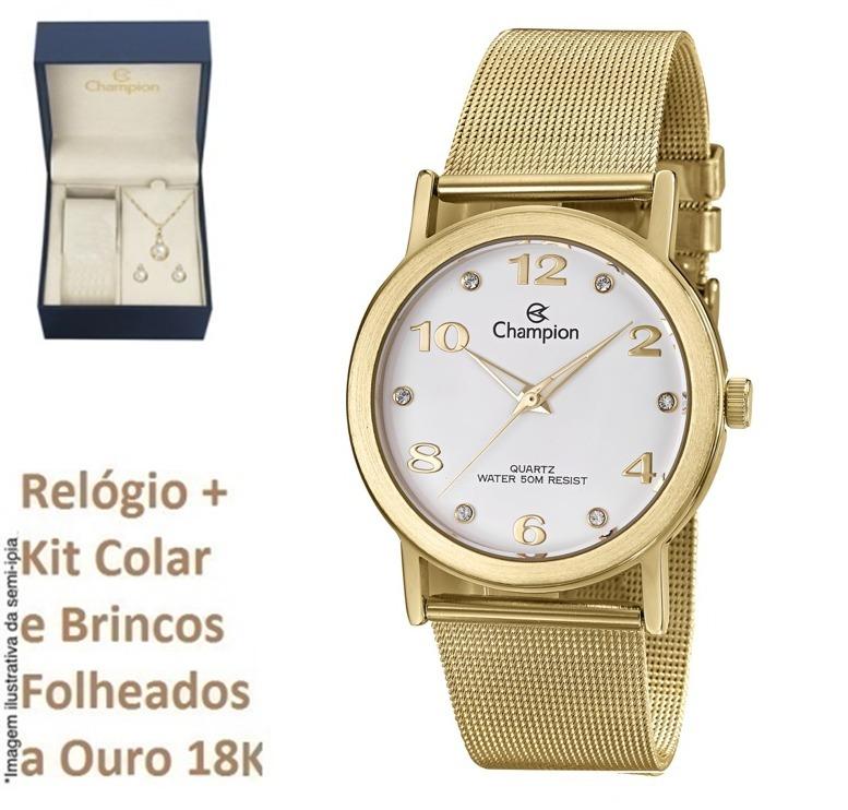515fbce7452 Relógio Champion Feminino Dourado Cn29034h + Kit Brinde C nf - R  209