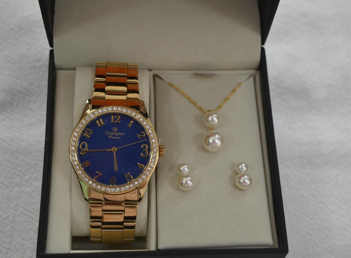 25b3f2563 relógio champion feminino dourado cn29472k- kit colar brinco. Carregando  zoom.