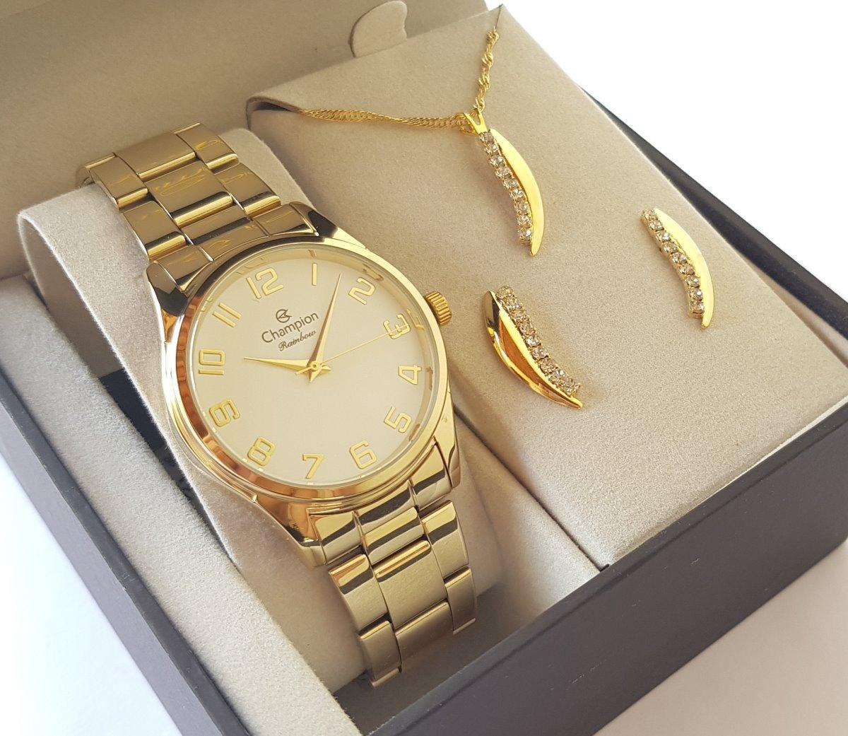 relógio champion feminino dourado cn29883j kit colar brincos. Carregando  zoom. ba6673f189