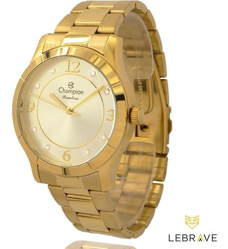 relógio champion feminino dourado + colar e brincos original