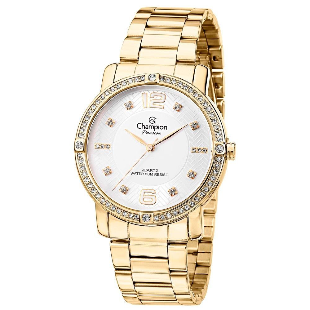 d359288b4a4 Relógio Champion Feminino Dourado Com Pedras Cn28688h - R  138