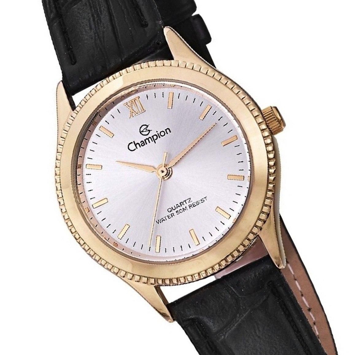 c6a5e40e1 relógio champion feminino dourado couro 50 metros cn28115b. Carregando zoom.