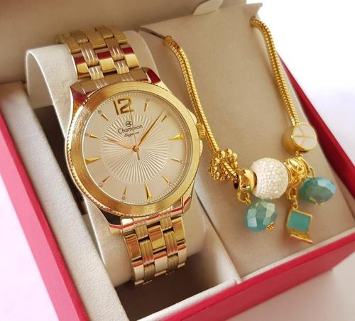 relógio champion feminino dourado elegance + pulseira