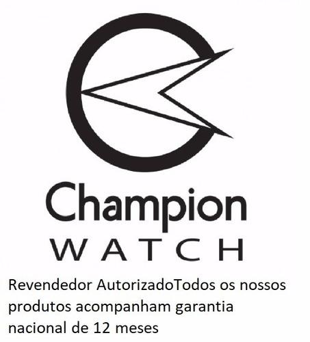 relógio champion feminino dourado kit colar brincos ch24759w