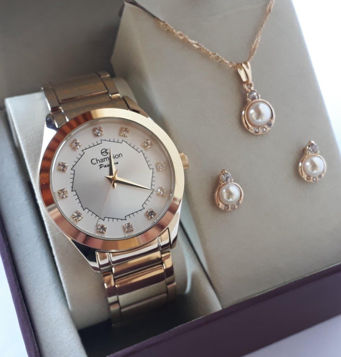 92f0cfeb2be relógio champion feminino dourado kit colar brincos ch24759w. Carregando  zoom.