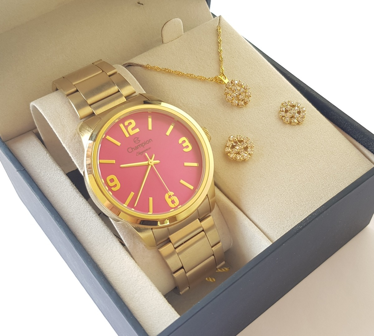 60f8fc3ee33 relógio champion feminino dourado kit colar brincos cn27232j. Carregando  zoom.
