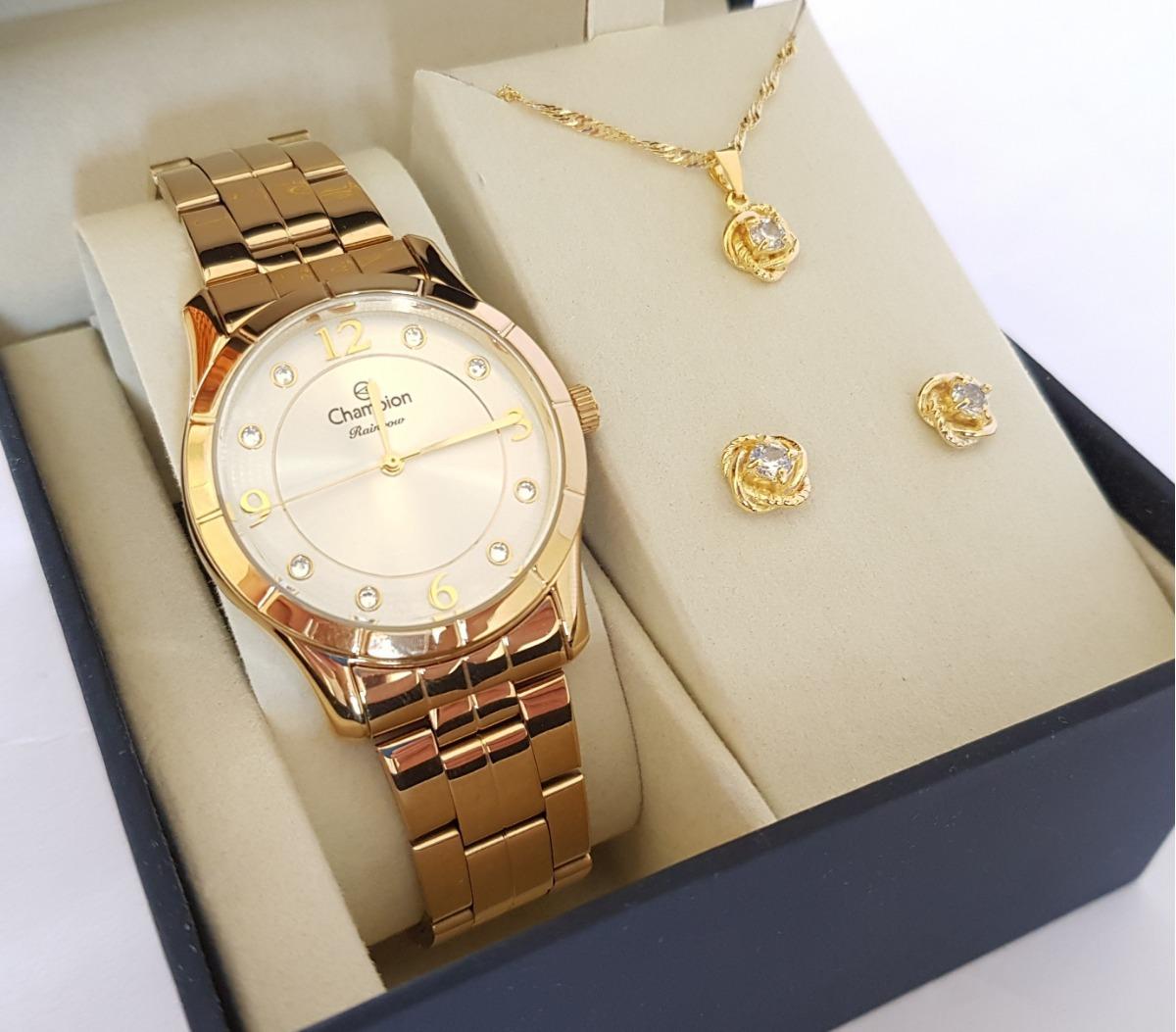 c90ad803b relógio champion feminino dourado kit colar brincos cn29909w. Carregando  zoom.