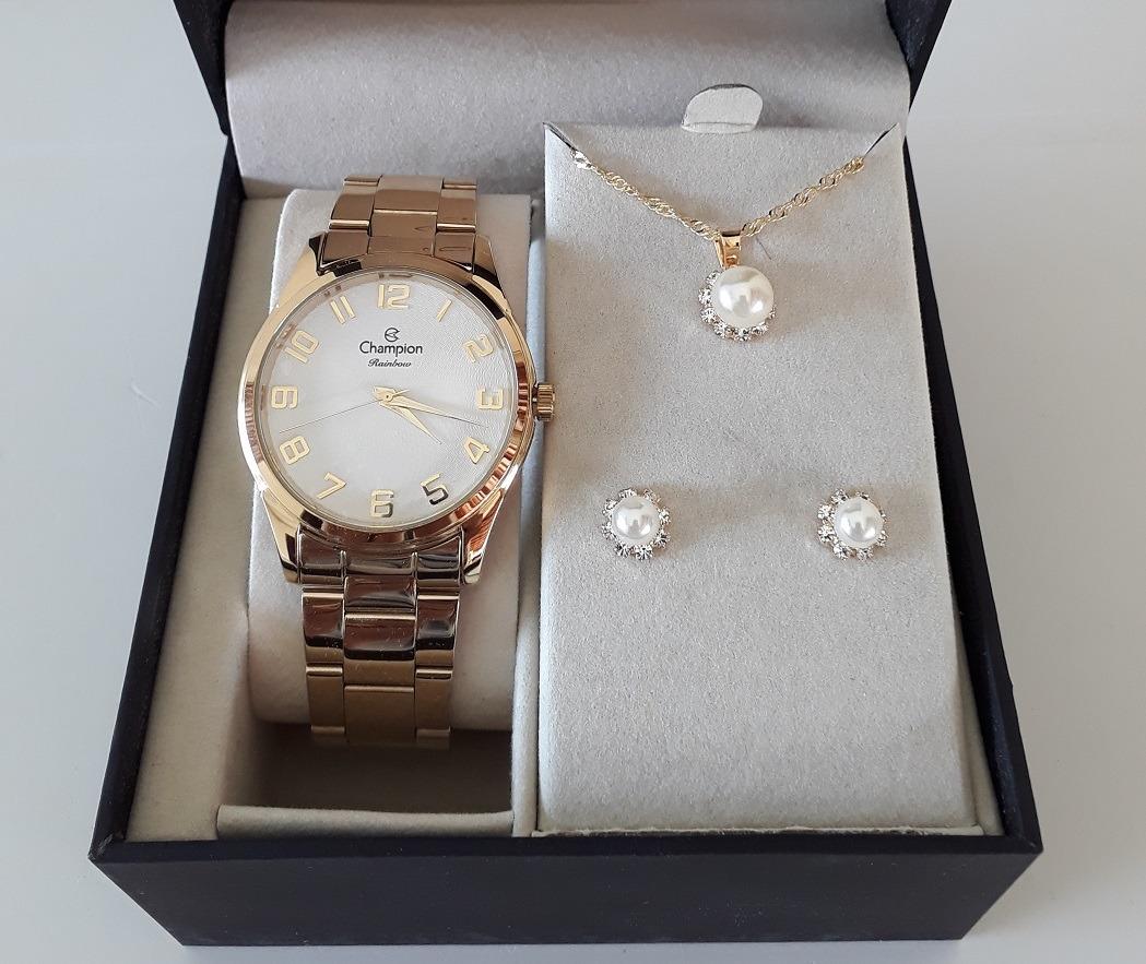 dacf77e9bd3 relógio champion feminino dourado original kit colar brincos. Carregando  zoom.