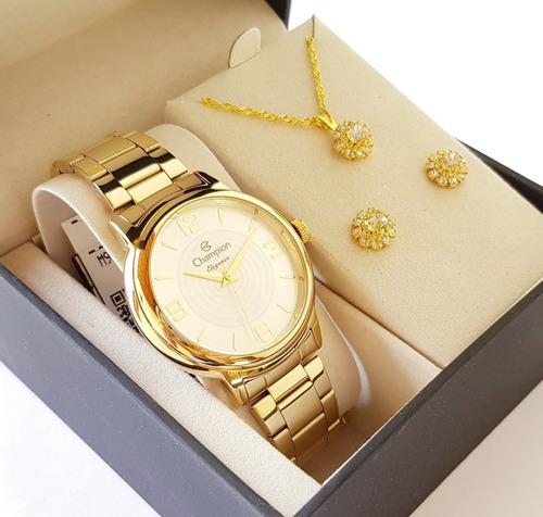 relógio champion feminino dourado original kit colar brincos