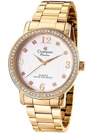relógio champion feminino dourado pedrinha + kit semi joia