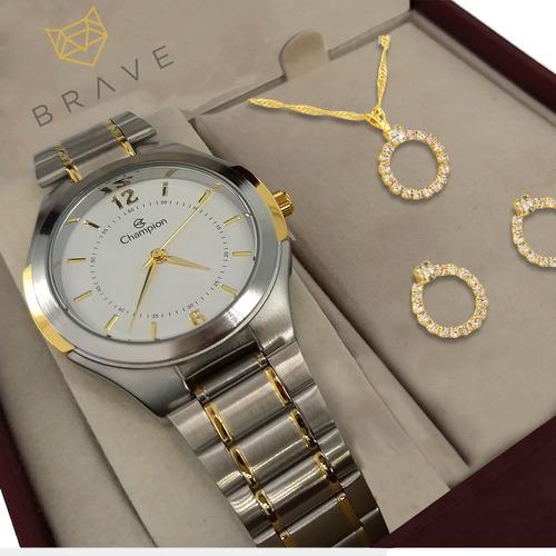 relógio champion feminino dourado prata prova água original