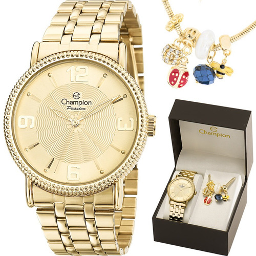 relógio champion feminino dourado+ pulseria