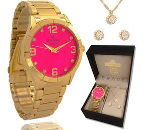 fda939ea8e7d Relógio Champion Feminino Dourado Rosa + Embalagem Presente