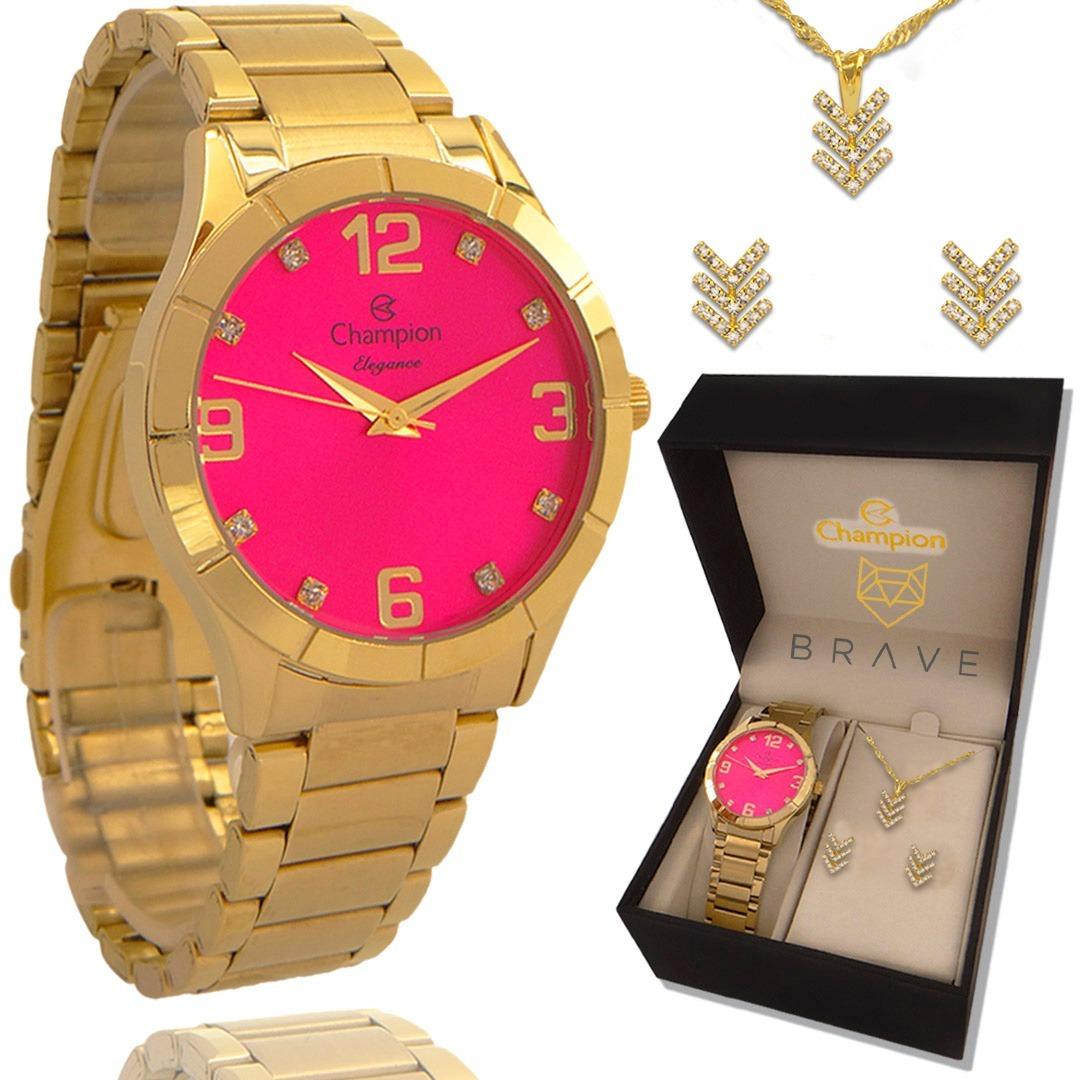 29d1a6387 Relógio Champion Feminino Dourado Rosa + Embalagem Presente - R$ 169 ...