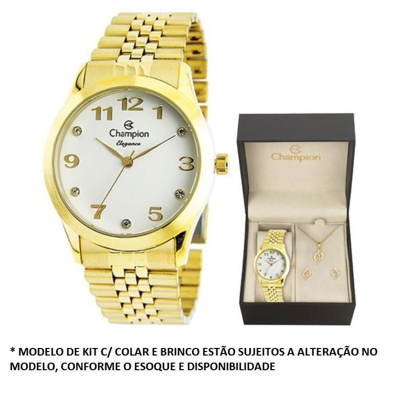 0c5dd5bb418 Relógio Champion Feminino Dourado + Semi Joia Cn28633w - R  209
