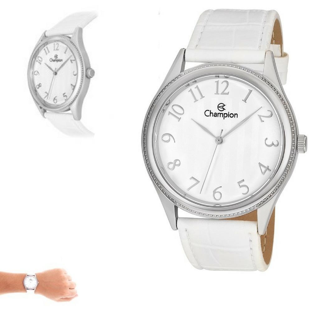 0969f8bd697de relógio champion feminino grande pulseira branca ch22788s. Carregando zoom.