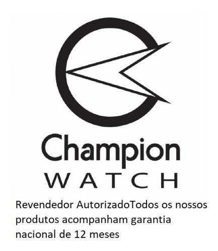 relógio champion feminino original dourado kit colar brincos
