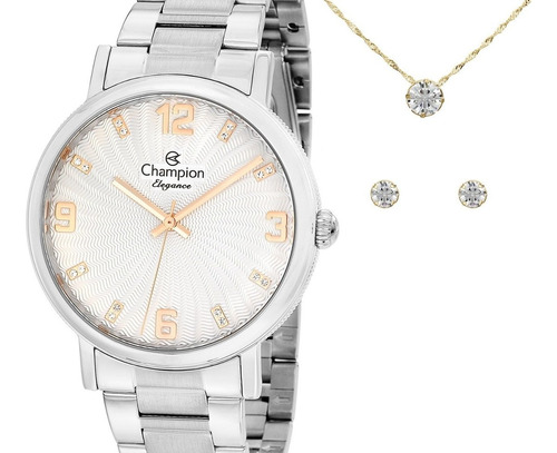 relógio champion feminino prata cn25636y + kit