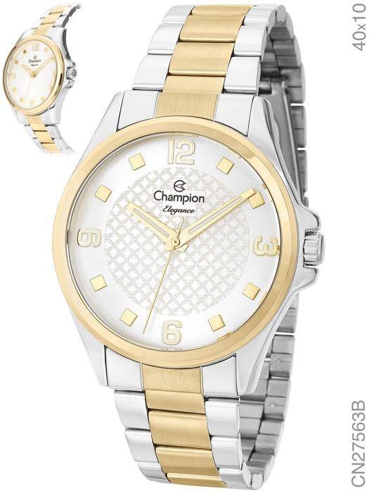 1ad294fe03 Relogio Champion Feminino Prata Dourado Elegance Cn27563b - R$ 186 ...
