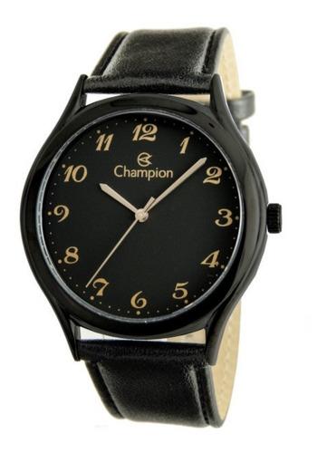 relogio champion feminino preto grande pulseira couro cn2002