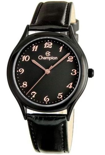 relogio champion feminino preto pulseira couro ch22233j