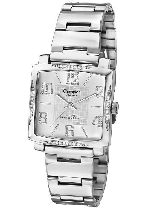 c667e3f5d3e Relógio Champion Feminino Quadrado Prata Ch24160s Original - R ...