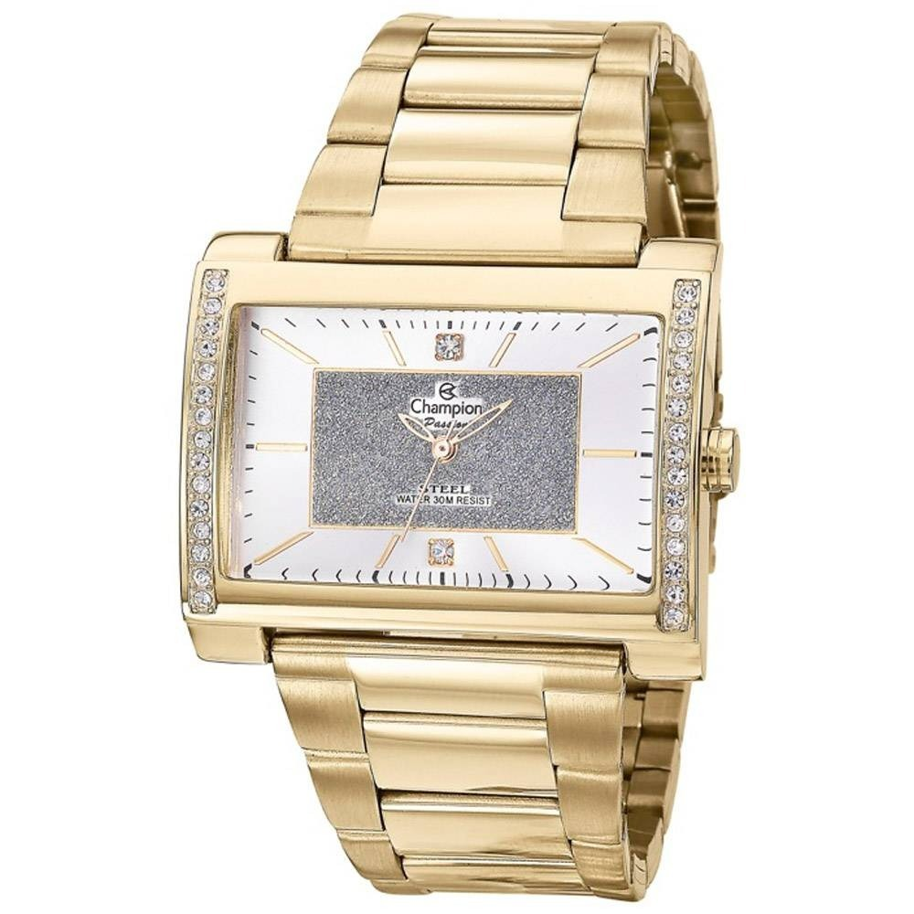 2244a37dc34 Relógio Champion Feminino Retangular Dourado Ch24688h - R  179
