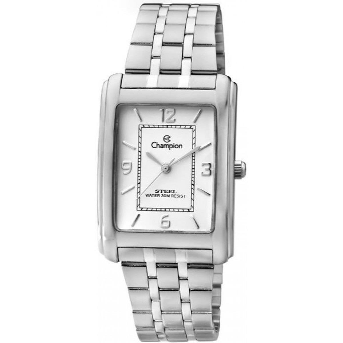 88e14b3ec14 Relógio Champion Feminino Retangular Em Aço Ca20063q - R  185