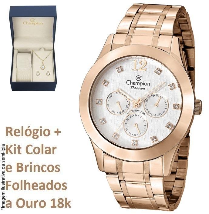 7e6e04c9f6d Relógio Champion Feminino Rosê Ch38262e Original Kit Brinde - R  179 ...
