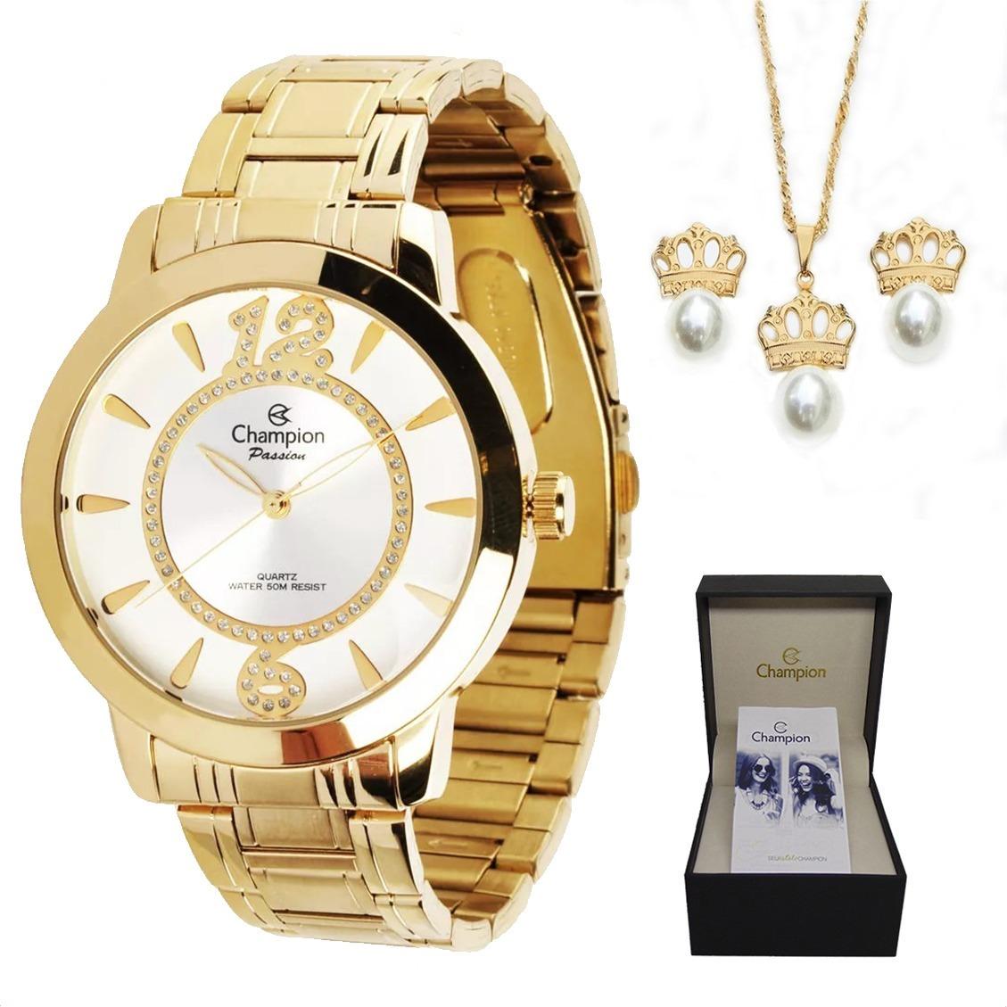 9a6ad1779d6 relógio champion feminino top dourado ch24259h + kit brinde. Carregando zoom .