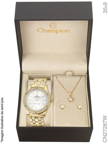 relógio champion kit feminino com semijóia cn27287w