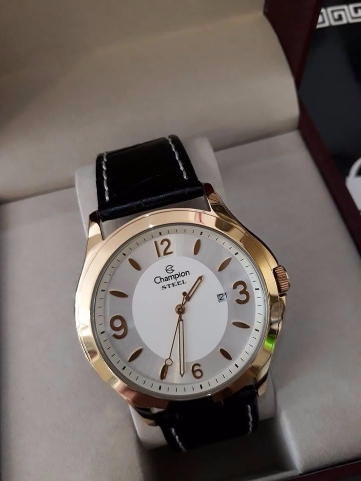 9c118591543 Relógio Champion Steel Dourado Pulseira De Couro Masculino - R  208 ...