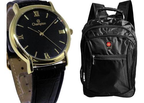 relógio champion masculino analógico social + mochila preta
