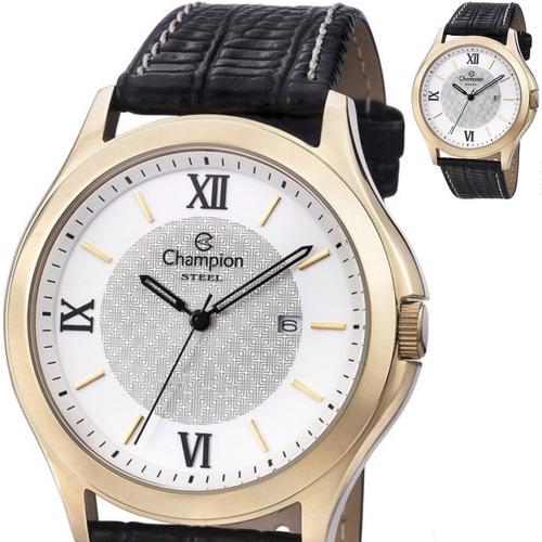 relógio champion masculino grande couro provad'água ca21179b