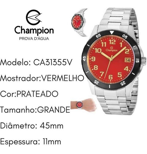 relógio champion masculino grande prova d'água ca31355v